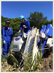 井関農機さまの「ニンニク収穫機」に挑戦する代表取締役 井上。