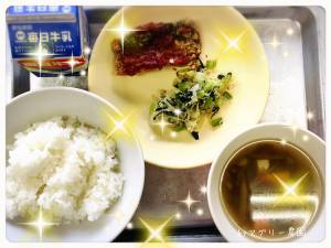 メニューは白ご飯、サバのケチャップソース、小松菜のお浸し、けんちん汁、牛乳でした♪